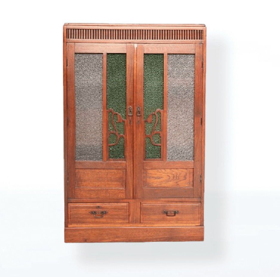 緑ダイア色ガラスの本棚